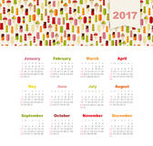 Calendar 2017 with ice cream. Week Starts Sunday Royalty Free Stock Photos