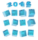 Calendar for ice cubes. Transparent three-dimensional cubes Stock Photos
