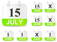 Calendar icon. Green calendar icon july june isolated on white royalty free illustration