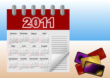 Calendar icon for 2011. Vector illustration. Calendar icon for 2011 and credit (gift) cards. Vector illustration Stock Images