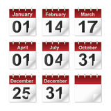 Calendar icon. A set of calendar icons representing most major US holidays royalty free illustration