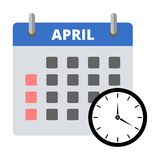 Calendar icon April, Meeting Deadlines icon. Vector icon Royalty Free Stock Images