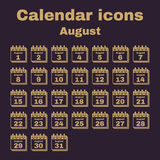 The calendar icon. August symbol. Flat. Vector illustration. Set vector illustration