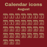 The calendar icon. August symbol. Flat. Vector illustration. Set stock illustration