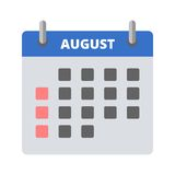 Calendar icon August. Vector icon vector illustration