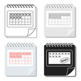 Calendar icon in cartoon style  on white background. Pregnancy symbol stock vector illustration. Stock Photo