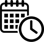 Calendar icon with clock. Meeting.