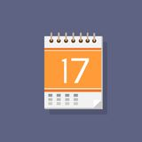 Calendar icon color flat design vector Royalty Free Stock Images