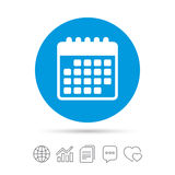 Calendar icon. Event reminder symbol. Copy files, chat speech bubble and chart web icons. Vector Royalty Free Stock Image