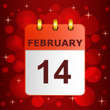 Calendar icon 14 February on festive background Stock Images
