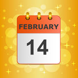 Calendar icon 14 February on festive colorful background. Valentine`s day. 14 February, calendar icon on festive colorful background. Love concept, suitable for Stock Images