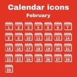 The calendar icon. February symbol. Flat Stock Photos