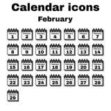 The calendar icon. February symbol. Flat Royalty Free Stock Image