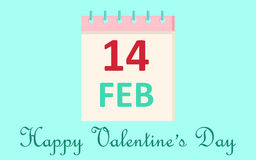 Calendar icon 14 February Valentine`s Day  on blue background. Love concept. Vector illustration. Royalty Free Stock Photography