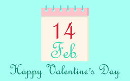 Calendar icon 14 February Valentine`s Day  on blue background. Love concept. Vector illustration. Stock Photography