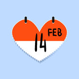 Calendar icon 14 February Valentine s Day isolated Love concept. Vector illustration. Calendar icon 14 February Valentine s Day isolated on white background stock illustration