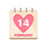 Calendar icon 14 February Valentine`s Day. Isolated on white background. Love concept. Vector illustration royalty free illustration