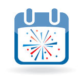 Calendar icon with firework Royalty Free Stock Photo