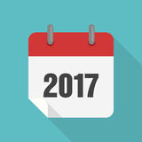 Calendar 2017 icon flat design. Vector  illustration Stock Photography