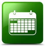 Calendar icon green square button Royalty Free Stock Images