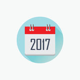 2017 calendar icon, Happy New Year 2017, Flat designed Vector Il. Lustration Royalty Free Stock Photos