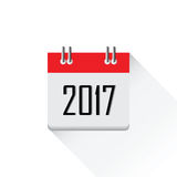 2017 calendar icon. 2017 calendar icon, Happy New Year 2017, Flat designed Vector Illustration Royalty Free Stock Photo