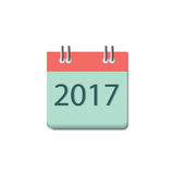 2017 calendar icon. 2017 calendar icon, Happy New Year 2017, Flat designed Vector Illustration royalty free illustration