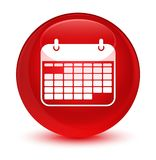Calendar icon glassy red round button. Calendar icon isolated on glassy red round button abstract illustration Royalty Free Stock Photos