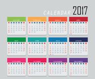 2017 Calendar . 2017 Calendar icon on isolated on gray Background, week start on sunday, Simple 2017 year design vector illustration vector illustration