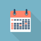 Calendar icon isolated. With long shadow. Flat design style, vector illustration stock illustration