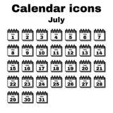 The calendar icon. July symbol. Flat. The calendar icon.  July symbol. Flat Vector illustration. Set Royalty Free Stock Photo