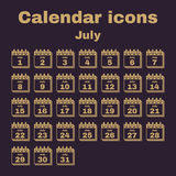The calendar icon. July symbol. Flat. The calendar icon.  July symbol. Flat Vector illustration. Set Stock Photography