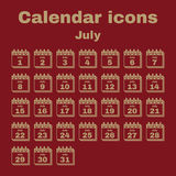 The calendar icon. July symbol. Flat. The calendar icon.  July symbol. Flat Vector illustration. Set Stock Photos