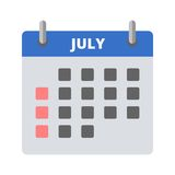 Calendar icon July. Vector illustration Stock Images