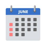 Calendar icon June. Icon Royalty Free Stock Photography