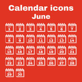 The calendar icon. June symbol. Flat. The calendar icon.  June symbol. Flat Vector illustration. Set Royalty Free Stock Photos