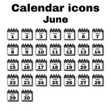 The calendar icon. June symbol. Flat. The calendar icon.  June symbol. Flat Vector illustration. Set Stock Image