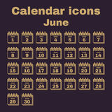 The calendar icon. June symbol. Flat. The calendar icon.  June symbol. Flat Vector illustration. Set Stock Photography