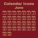 The calendar icon. June symbol. Flat. The calendar icon.  June symbol. Flat Vector illustration. Set Stock Photos