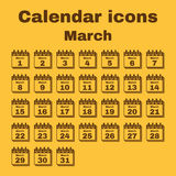 The calendar icon. March symbol. Flat Stock Photo