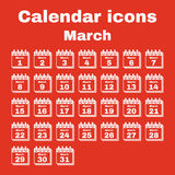 The calendar icon. March symbol. Flat Stock Photography