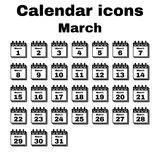 The calendar icon. March symbol. Flat Royalty Free Stock Photography