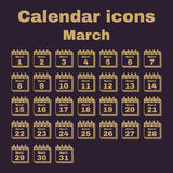The calendar icon. March symbol. Flat Stock Images