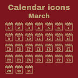 The calendar icon. March symbol. Flat Stock Photos