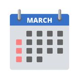 Calendar icon March. Vector illustration Stock Photos