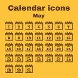 The calendar icon. May symbol. Flat. The calendar icon.  May symbol. Flat Vector illustration. Set Royalty Free Stock Photo