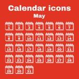 The calendar icon. May symbol. Flat. The calendar icon.  May symbol. Flat Vector illustration. Set Stock Photos