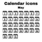 The calendar icon. May symbol. Flat. Vector illustration. Set Vector Illustration
