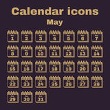 The calendar icon. May symbol. Flat. The calendar icon.  May symbol. Flat Vector illustration. Set Royalty Free Stock Photography