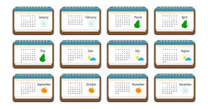 Calendar icon with the name of months, weekdays, weeks, and color picture for each month, vector illustration